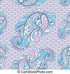 Vector seamless paisley pattern in soft colors on scallops