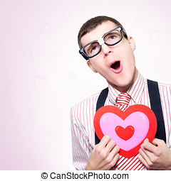 Romantic Nerd Dreaming Of A Long Lost Love - Funny Portrait...