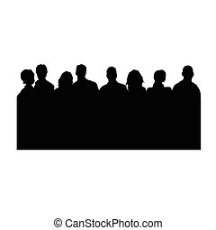 people vector silhouette on white