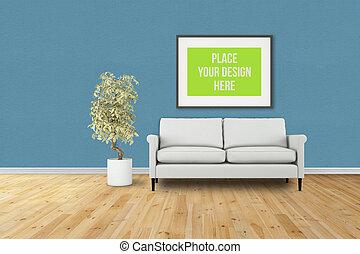 Interior Poster Frame Mock-Up - Interior poster frame...