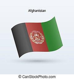 Afghanistan flag waving form. Vector illustration.