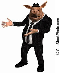 Toon Pig - Business Man - 3 D Render of an Toon Pig -...