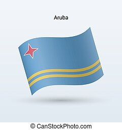 Aruba flag waving form on gray background Vector...