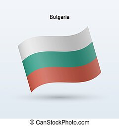 Bulgaria flag waving form on gray background. Vector...