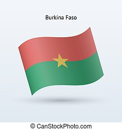 Burkina Faso flag waving form. - Burkina Faso flag waving...
