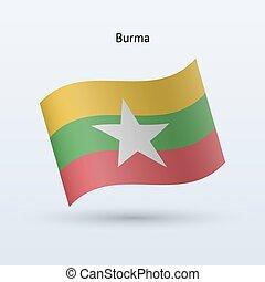 Burma flag waving form Vector illustration - Burma flag...