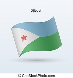 Djibouti flag waving form Vector illustration - Djibouti...