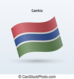 Gambia flag waving form Vector illustration - Gambia flag...