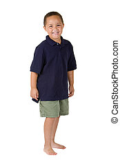 Happy boy - Happy mixed race boy on white background
