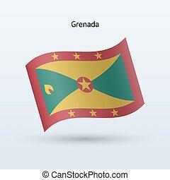Grenada flag waving form Vector illustration - Grenada flag...