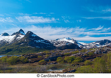 High mountain pass in Norway Sunny summer day
