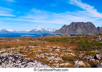 Landscape of norwegian island Skrova on Lofoten in sunny day