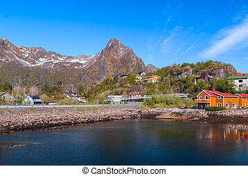 Village on the norwegian island on Lofoten