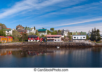 Village on the norwegian island in sunny day