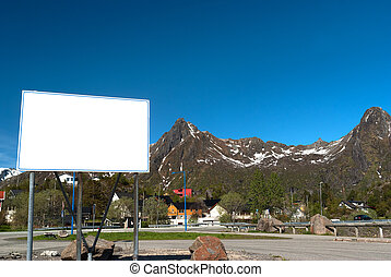 White big bilboard on the norwegian road in sunny day - Big...