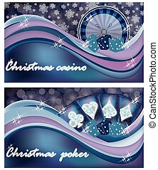 Christmas casino banners, vector illustration