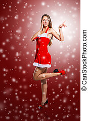 girl in costume of Santa Claus - beautiful girl in costume...