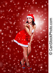 girl dressed as Santa Claus - beautiful girl dressed as...