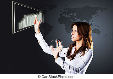 woman drawing growth of chart