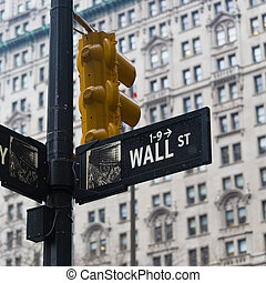 Wall st street sign, New York, USA - Wall st street sign in...