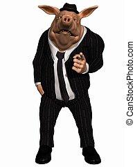 Toon Pig - Business Man - 3 D Render of an Toon Pig -...