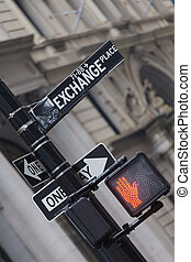 Wall st street sign, New York, USA - New York stock exchange...