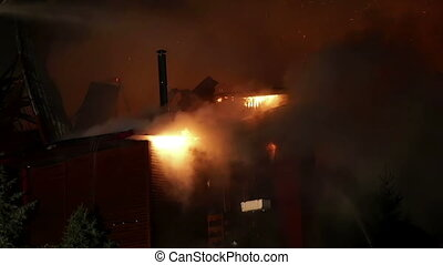 House on fire Inferno conflagration - House building on fire...