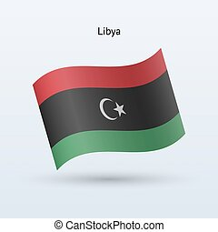 Libya flag waving form Vector illustration - Libya flag...