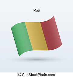 Mali flag waving form Vector illustration - Mali flag waving...