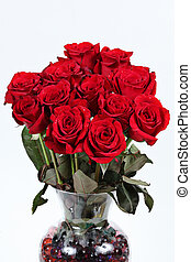 Vase of red roses