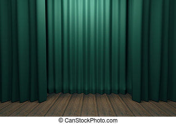Stage with green scenes and wooden floor