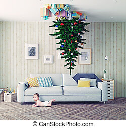 Christmas tree on the ceiling