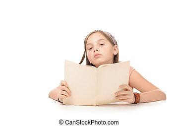 wenig, studieren, Schule, Buch, schueler, m�dchen, lesende