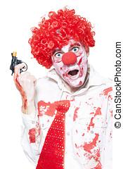 Evil Clown Holding Cap Gun On White Background - Evil Clown...