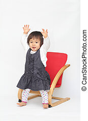 baby girl sitting on the chair - Japanese baby girl sitting...