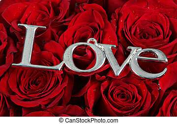 LOVE - word on red roses - The word love in silver on red...
