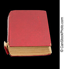 old red book on a black background