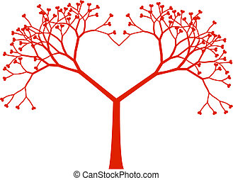 Tree heart, vector - Heart shaped tree with heart leaves,...