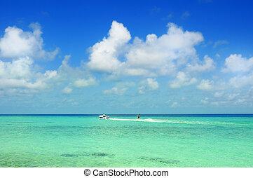 Motorboat at ocean - Picture of motorboat at ocean