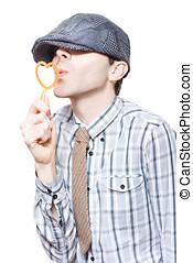 Little Boy Flirting With Heart Shape Bubble Blower -...