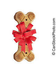 Dog Biscuit With Red Holiday Bow