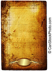 Old paper with golden frame - Old paper with elegance golden...