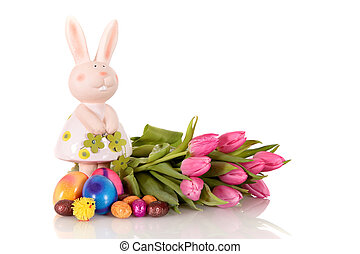 Purple Easter tulips bunny - Purple Easter tulips next to...