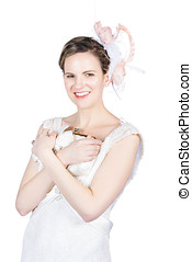 Happy young bride holding purse