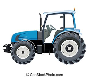 Blue side tractor - Blue tractor a side view on white...