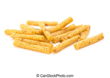 pretzel sticks on a white background