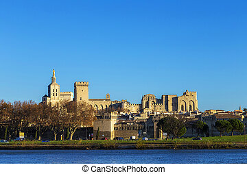 skyline of Avignon with gothic building of the popes palace...