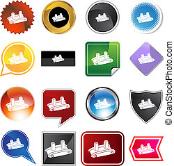 Shipping Conveyor Belt Icon - Shipping conveyor belt icon...