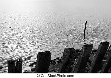 erosion protection posts - the sea barrier to protect...