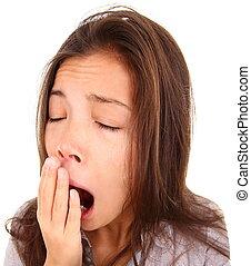 yawning - Yawning tired woman. Beautiful mixed race asian /...